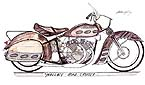 drawing of Vincent engine powered Harley Indian decker bagger