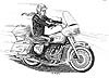 drawing of customized Honda Gold Wing 1980's