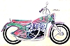 drawing of 1960's style cutomized Vincent motorcycle in American chassis